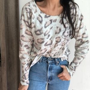 Rebecca Taylor leopard wool cashmere crew sweater